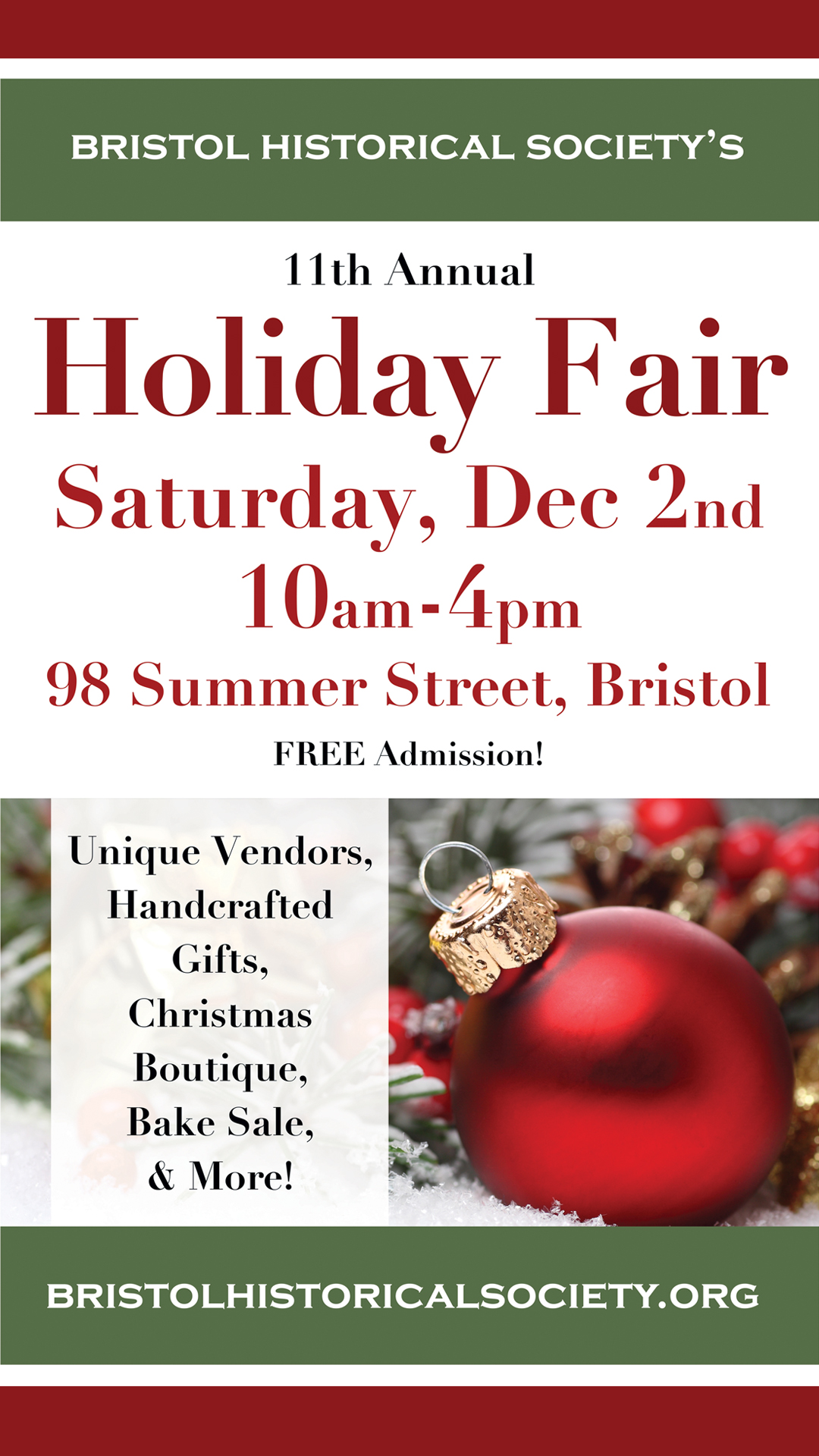 11th annual holiday craft fair bristol historical society for Christmas classic art craft festival